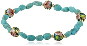 Gold Plated Sterling Silver Spacer Beads, Stabilized Chinese Turquoise Nugget and Cloisonne Bead Stretch Bracelet, 7.5""
