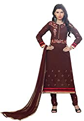 Suchi Fashion Brown Embroidered Cotton Dress Material