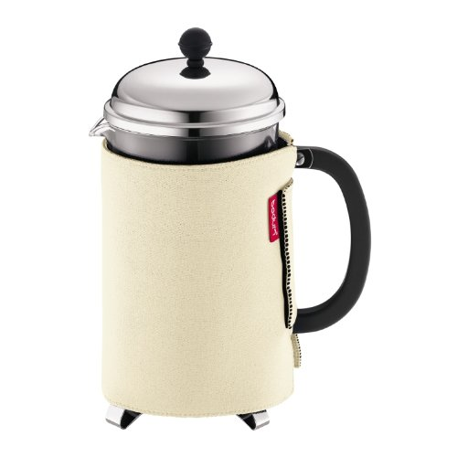 Bodum Nero Thermal Neoprene 12-Cup French Press Coffee Coat, (Off-White)
