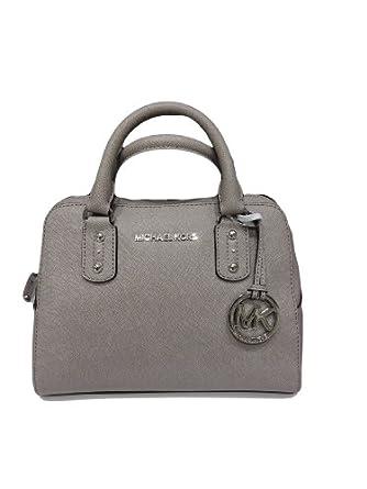 Michael Kors Small Satchel Saffiano Pearl Grey Leather: Handbags