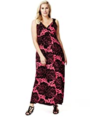Plus Twisted Shoulder Rose Print Maxi Dress