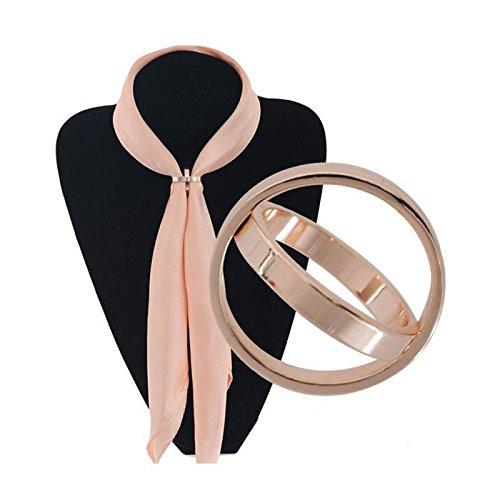 Or Rose Broche Echarpe Foulard Double Anneaux Clip Boucle de Vêtements  Bijoux Cadeau Mode pour Femmes 3333a540ca9