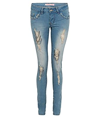 Ripped Chain Detailed Skinny Jeans (12,Light Blue)