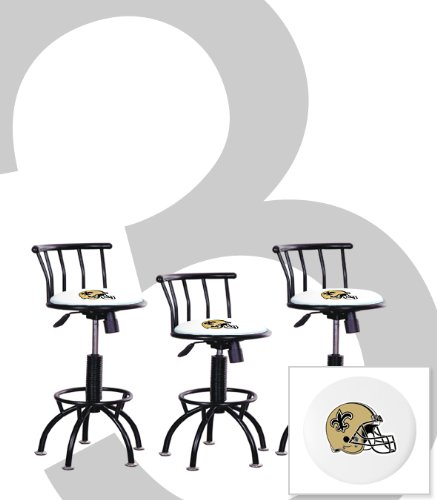 "3 New Orleans Saints Themed Adjustable Height 24""-29"" Black Metal Finish Swivel Seat Bar Stools! at Amazon.com"