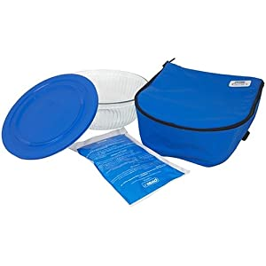 Amazon Pyrex Portables Serving Bowl With Insulated Carrier Clear With Blue Carrier Bake