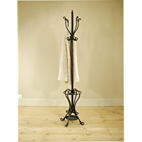 Tall, Metal Black Hat And Coat Stand, Umbrella Stand