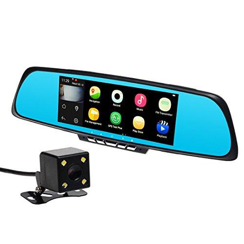 "Toguard 7"" Car Smart Mirror Dash Cam, 1080P Full HD, WiFi, Bluetooth, GPS Navigation, Dual Lens, Touch Screen, Rear view Mirror, Backup Camera, Android 4.4, RAM 1GB, ROM 16GB,Free Map"