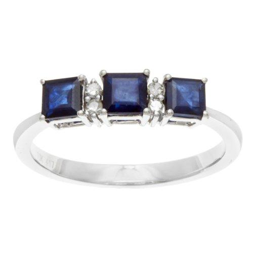 White Gold 1.25ct 3-Stone Genuine Sapphire and Diamond Ring