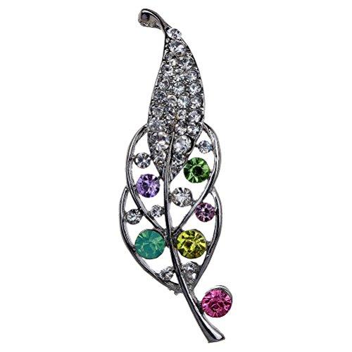 Amybria Belle plein cristal coloršŠ strass Slivery creux feuilles Broche et Pins pour les femmes