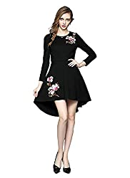Fancy Western Wear And Party Wear Georgette Black Printed Halterneck Full Sleeves Regular Fit Dress/One Piece By H K Sales(Size L)