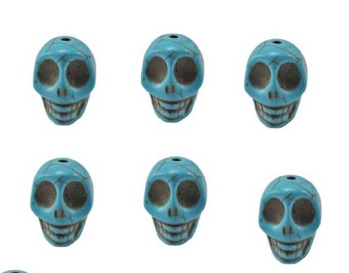 Turquoise Magnesite Dyed Gemstone Beads Carved Skull Beads, 20 X 17 X 14 (6 Per Set)