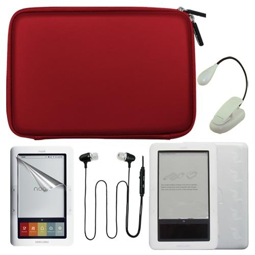 Premium Red EVA Hard Cover Bag and Clear Silicone Case + Crystal Screen Protector + Earphone w/mic + Ebook Light for Barnes&Noble Nook eBook Reader