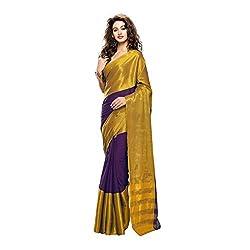 Lemoda Designer Purple & Golden Zari Border Cotton Blend Saree MMUKE90144068700- 70000055