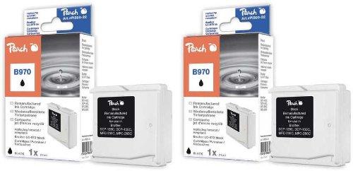 Peach PI500-100 Tintenpatronen kompatibel zu Brother LC-970 bk, Doppelpack, schwarz