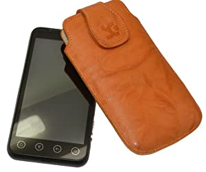 Original Suncase Echt Ledertasche für HTC Evo 3D in wash-orange