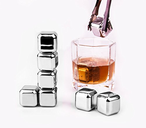 Whiskey Stones - Yukiss Set of 8 with Plastic Storage Box Tongs, Stainless Steel Reusable Wine Ice Cubes, Whiskey Chilling Rocks, Whisky Stones and Sipping Stones