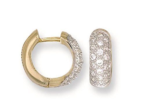 9ct Yellow Gold Cubic Zirconia Huggie Earrings