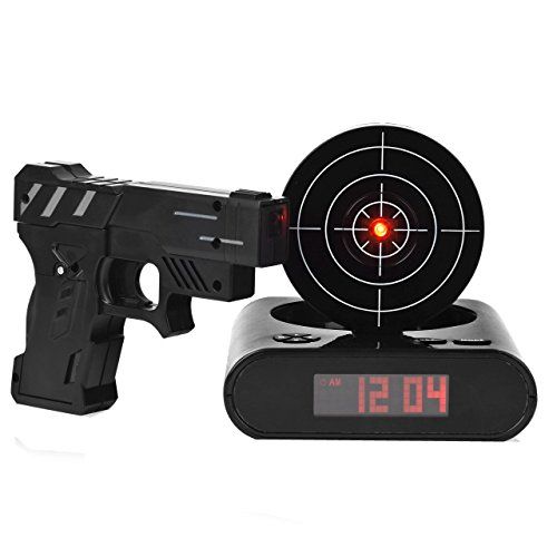 Augenblick Target Alarm Clock with Gun, Infrared Laser and Sound Effects - Black (Target Practice Alarm compare prices)