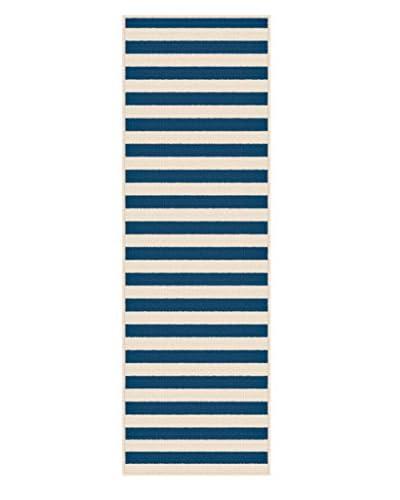 Universal Rugs Garden City Indoor/Outdoor Transitional Runner, Navy, 3' x 8'