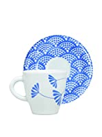 Molecuisine Set Taza De Café con Plato 4 Uds. Magatama Azul