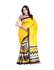 Vibes Women's Bhagalpuri Art Silk Saree,With Blouse (S51-VBK137_Yellow)