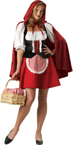 InCharacter Costumes, LLC Red Riding Hood Adult Peasant Dress, Red/White/Black, Small