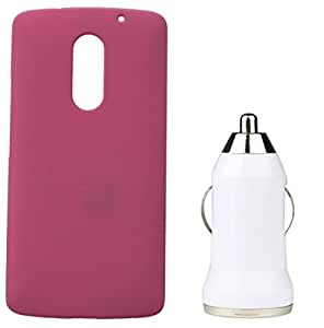 Toppings Hard Case Cover With Car Charger For Lenovo Vibe X3 - Light Pink