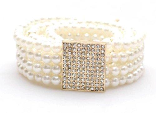 Elegant Ladies Rhinestone Buckle Faux Pearl Stretch Waist Belt