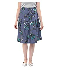Yepme Women's Blue Blended Skirts - YPWSKRT5158_M