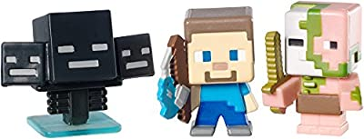 Minecraft Collectible Figures Zombie Pigman, Wither and Fishing Steve 3-Pack, Series 2 from Mattel