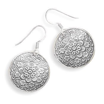 Round Oxidized Floral Design French Wire Earrings