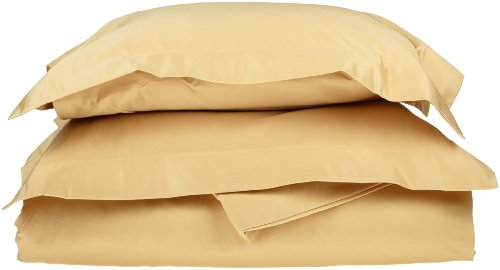 Egyptian Cotton 600 Thread Count King/California King Duvet Cover Set Solid, Gold front-808127