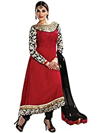 Yehii Semi Stitched Salwar Suit For Women Free Size Party Wear Dress Material Red | Georgette , Santoon , Chiffon...