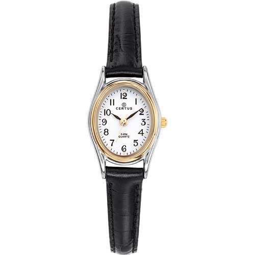 Certus 645347 - Ladies Watch - Analogue Quartz - White Dial - Black Leather Strap