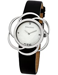 Nina Ricci SS Case With Flower Shape Bazel, White MOP Dial With 1 Diamond, Black Leather Strap