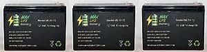 Max Life Battery - 12V 10AH Currie eZip Trailz Electric Bike Battery - 3 Pack - ML10-12MP374