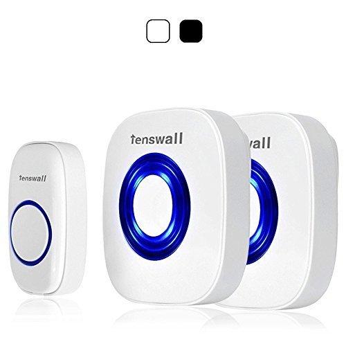 Tenswalll® ワイヤレス ドアチャイム ドアベル 呼出音楽52メロディー選択可 呼び鈴玄関 チャイムセンサー 呼び出しチャイムセット 受信機2個 (AC式) 送信機1個 (白い) 「並行輸入品」