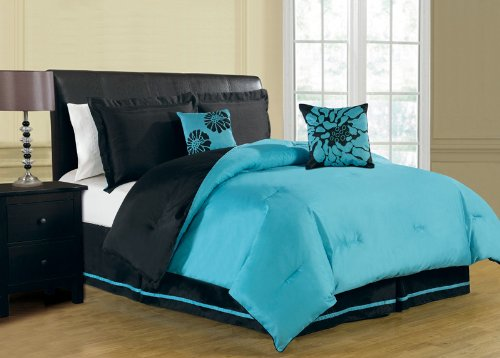 Piece Comforter Sets Piece King Harper Reversible Comforter - Black and teal comforter sets