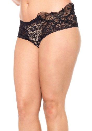 Leg Avenue Women'S Plus-Size Sequin Butterfly Lace Tanga, Black, 2X