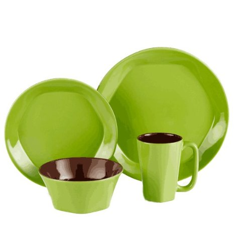 ColorUs China 112029 Glycon Hexagon in Round Stoneware 16-Piece Dinnerware Set, Green, Service for 4