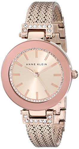 Anne Klein Women's 1906RGRG Swarovski Crystal-Accented Rose Gold-Tone Watch with Mesh Bracelet