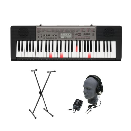 Casio LK-240 61-Key Portable Premium Portable Keyboard Package with Headphones, Stand and Power Supply