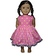 Glamerup Collection: Sweetheart Emilee 18 Inch Doll Dress, Lots Of Love, Pink With Yellow Hearts, Lace