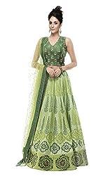 TexStile women's Green Banglory Silk Semi Stitched Embroidery Lehenga Choli