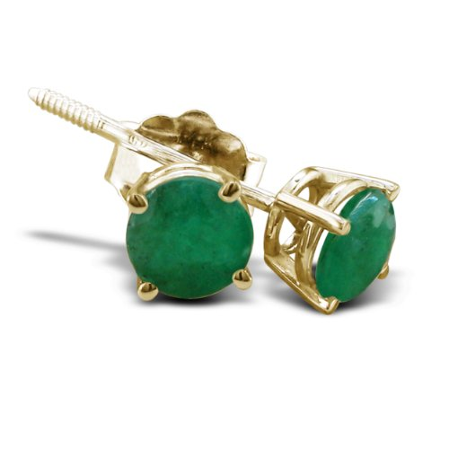 14K Yellow Gold Emerald Stud Earrings, 1/2Ct Total Weight 4Mm