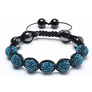 Bling Jewelry Turquoise Crystal Shamballa Inspired Bracelet Hematite Beads 12mm