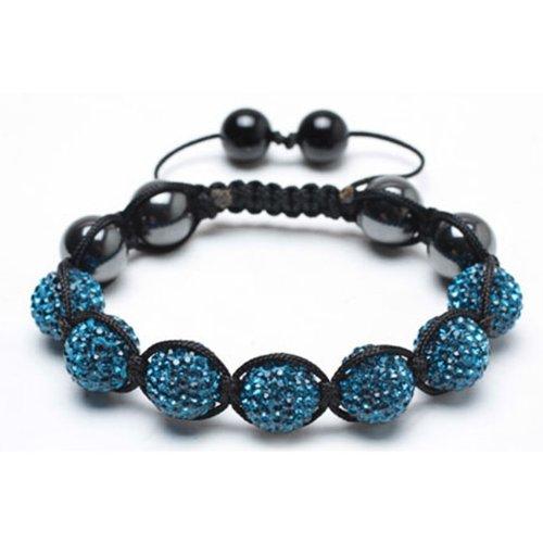 Bling Jewelry Hematite Blue Turquoise Swarovski Crystal Bead Shamballa Bracelet 12mm