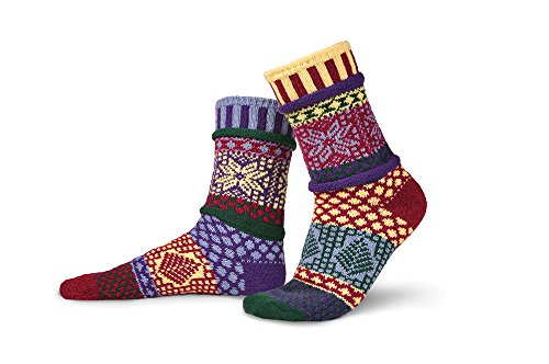 Solmate Socks - Mismatched Crew Socks; Made In Usa; Winterberry Small