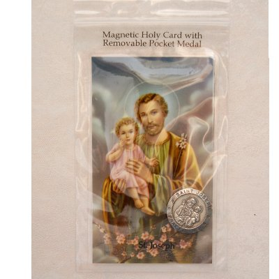 Magnetic St. Joseph Holy Card & Removable St. Joseph Pocket Medal