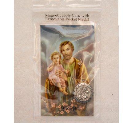 Magnetic St. Joseph Holy Card & Removable St. Joseph Pocket Medal